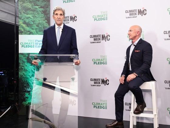 Kerry with Amazon founder Jeff Bezos