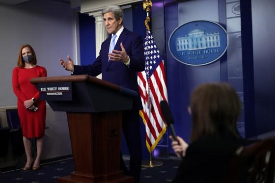 Kerry addressing the White House presscorps