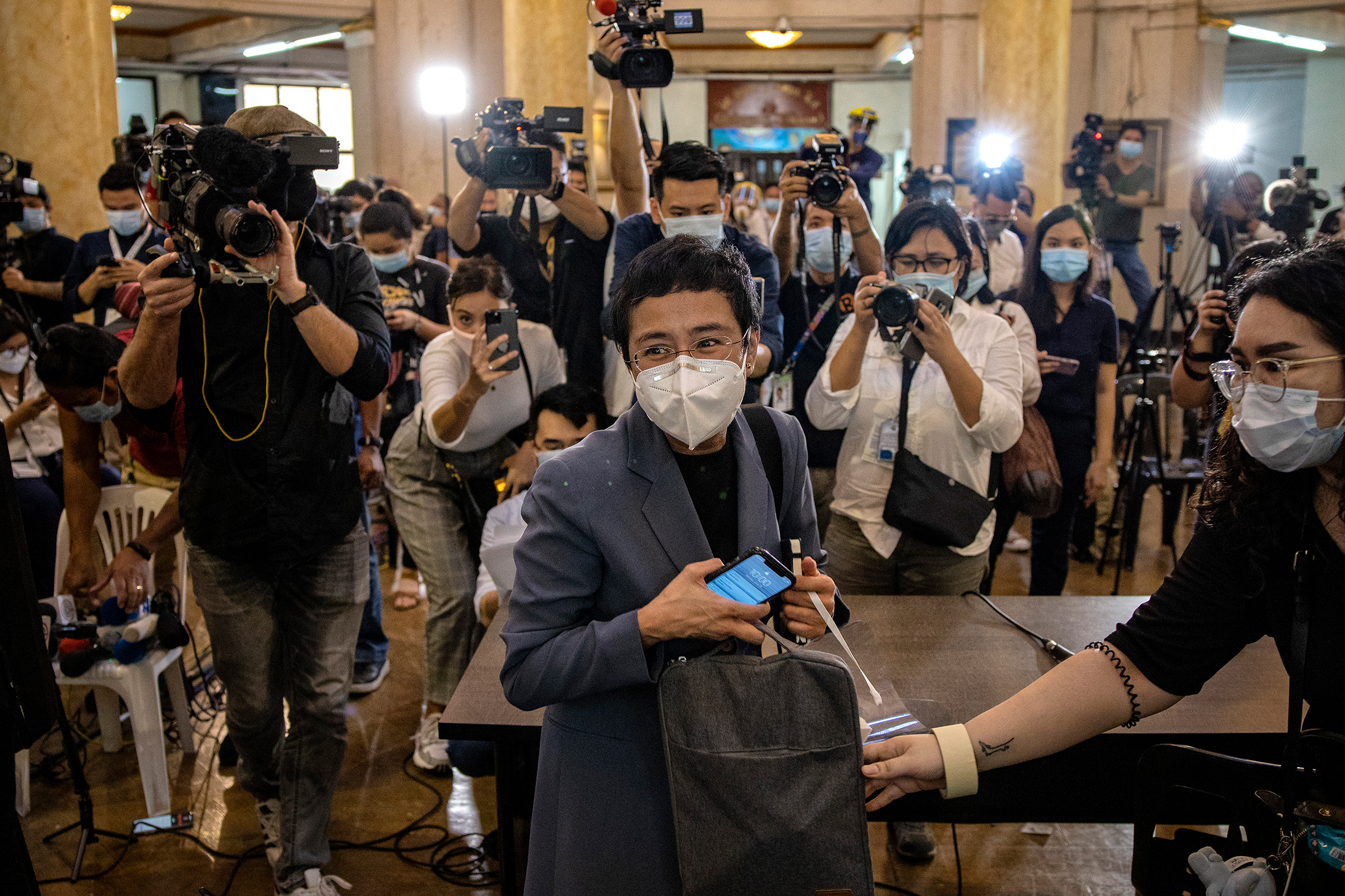 Maria Ressa, editor and CEO of Rappler, leaves a regional trial court after being convicted for cyber libel, in Manila on June 15, 2020. Ressa and Dmitry Muratov of Russia were awarded the 2021 Nobel Peace Prize on Oct. 8.