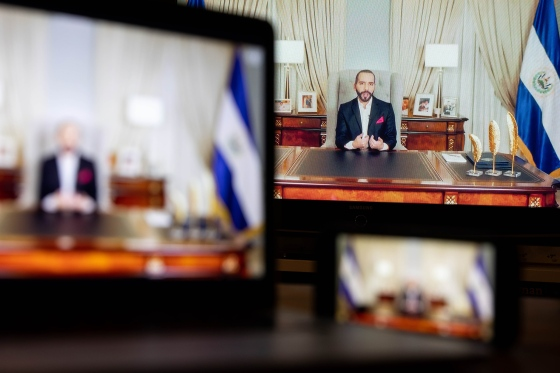 Nayib Bukele, El Salvador's president, speaks in a prerecorded video during the United Nations General Assembly via live stream in New York on Sept. 23, 2021.