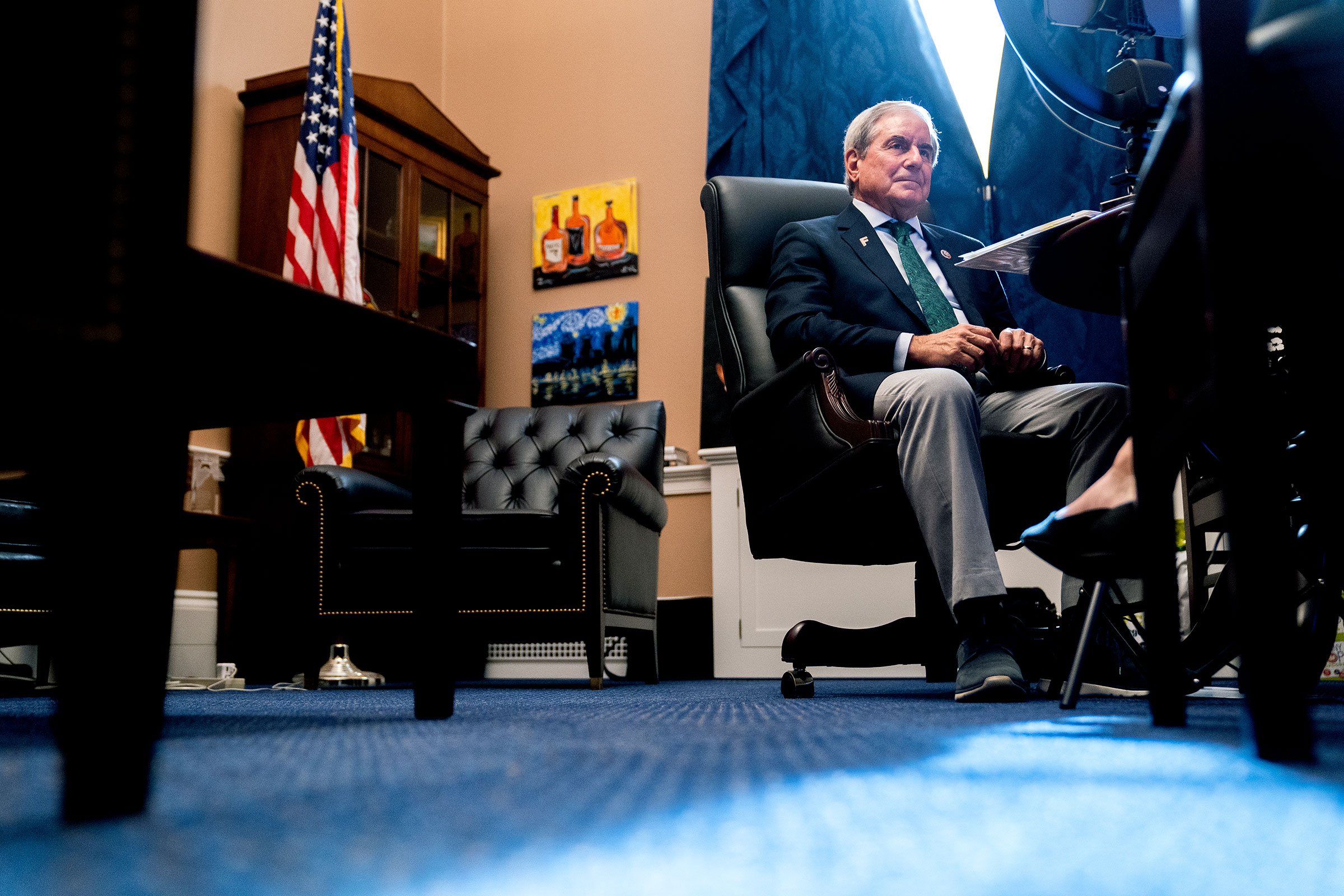 Rep. John Yarmuth listens during a virtual markup in his office on Capitol Hill on Sept. 25, 2021.