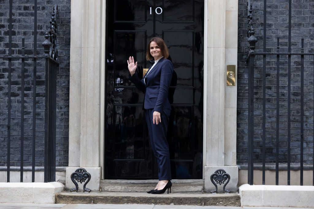 Svetlana Tikhanovskaya arrives at Downing Street for a meeting with British Prime Minister Boris Johnson on Aug. 3, 2021 in London, England.