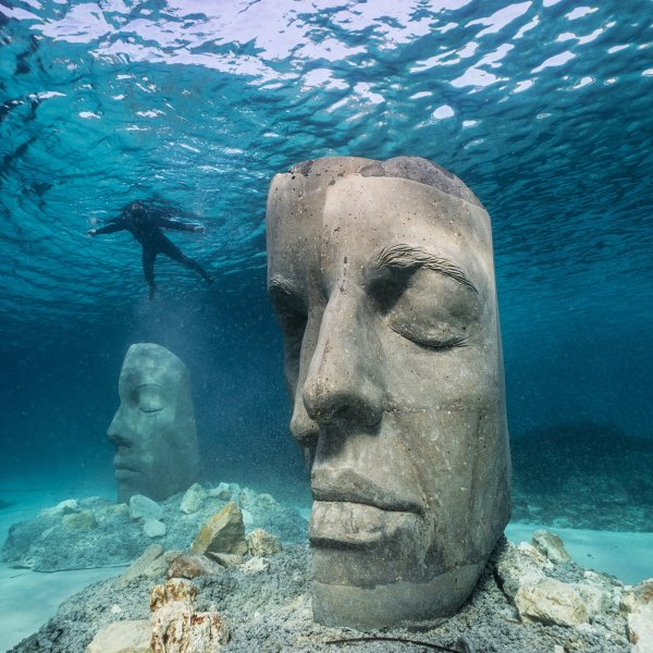 Jason deCaires Taylor's underwater sculptures at the Underwater Eco-Museum in the Bay of Cannes